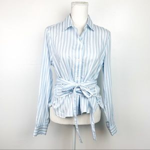Gap | NEW Blue White Stripe Tie Front Blouse Small